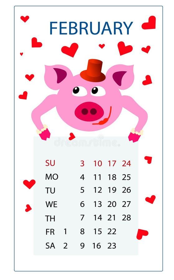 Календарь свинья в феврале 2019 год розовая в красных сердцах в любов на день Валентайн Святого бесплатная иллюстрация