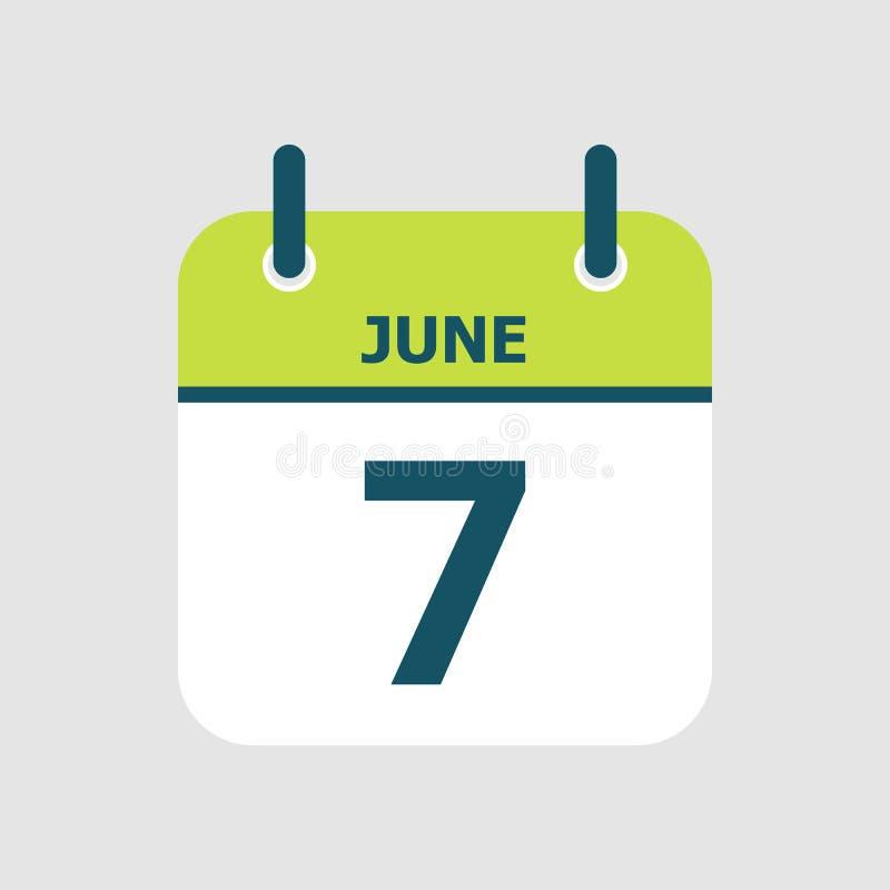 Календарь седьмое -го июнь иллюстрация вектора