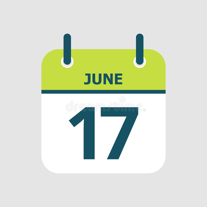 Календарь семнадцатое -го июнь иллюстрация вектора