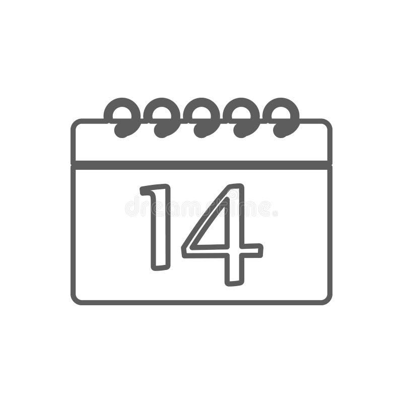 календарь со значком даты 14 Элемент Romance для мобильных концепции и значка приложений сети r бесплатная иллюстрация