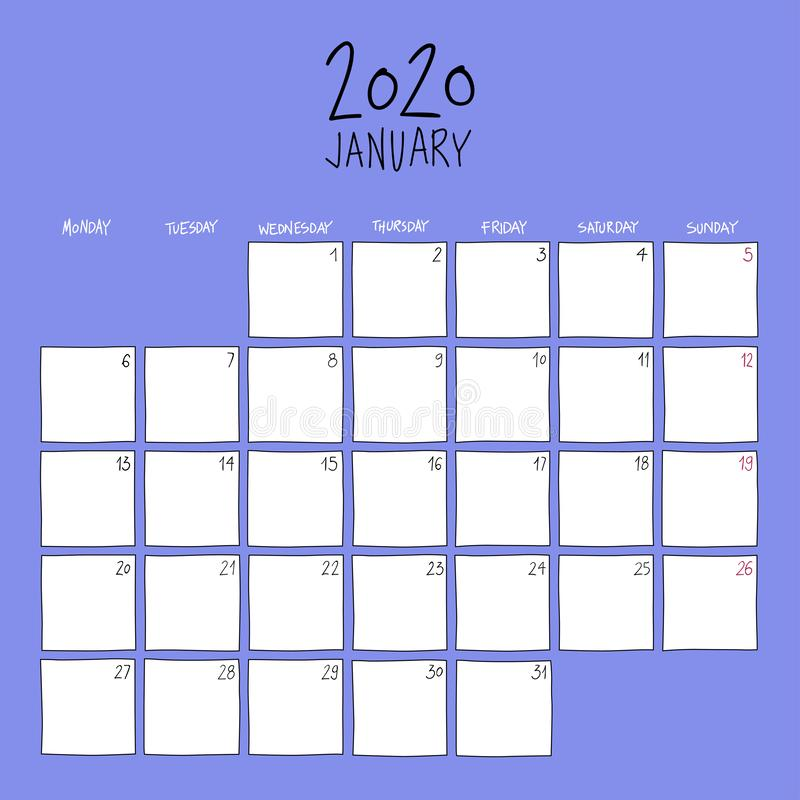 Календарь стенок на январь 2020 года иллюстрация штока