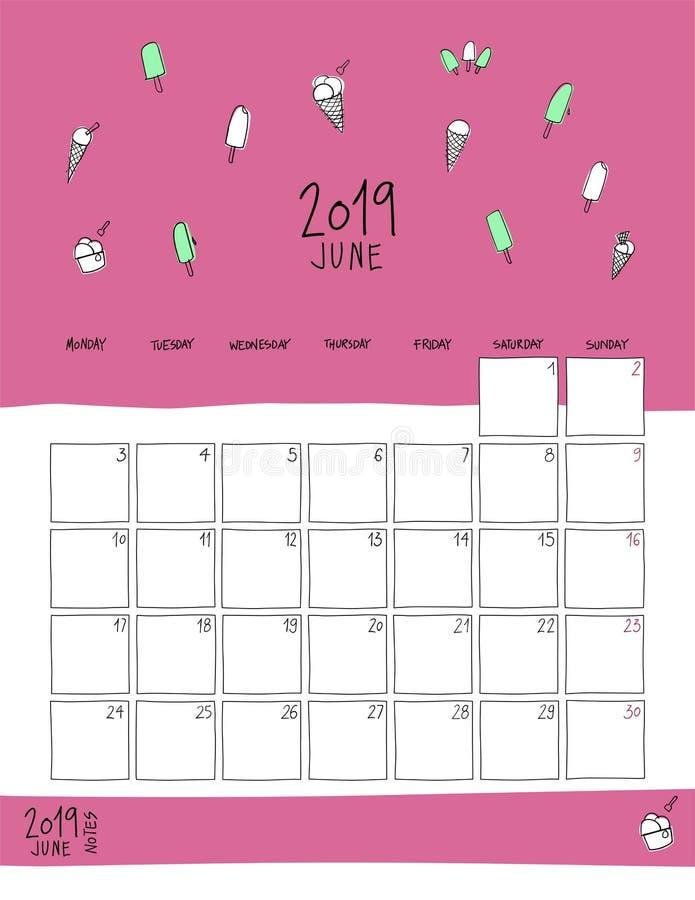 Календарь стены июня 2019 Doodle тип иллюстрация вектора