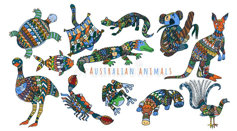 Календарь с австралийскими красочными животными иллюстрация штока