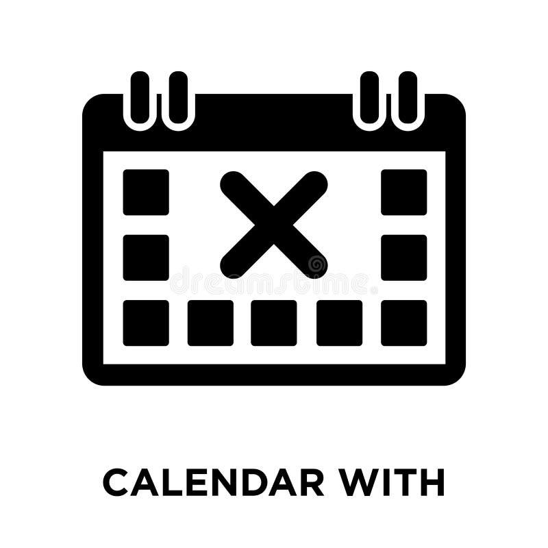 Календарь с вектором значка письма x изолированный на белой предпосылке, иллюстрация штока