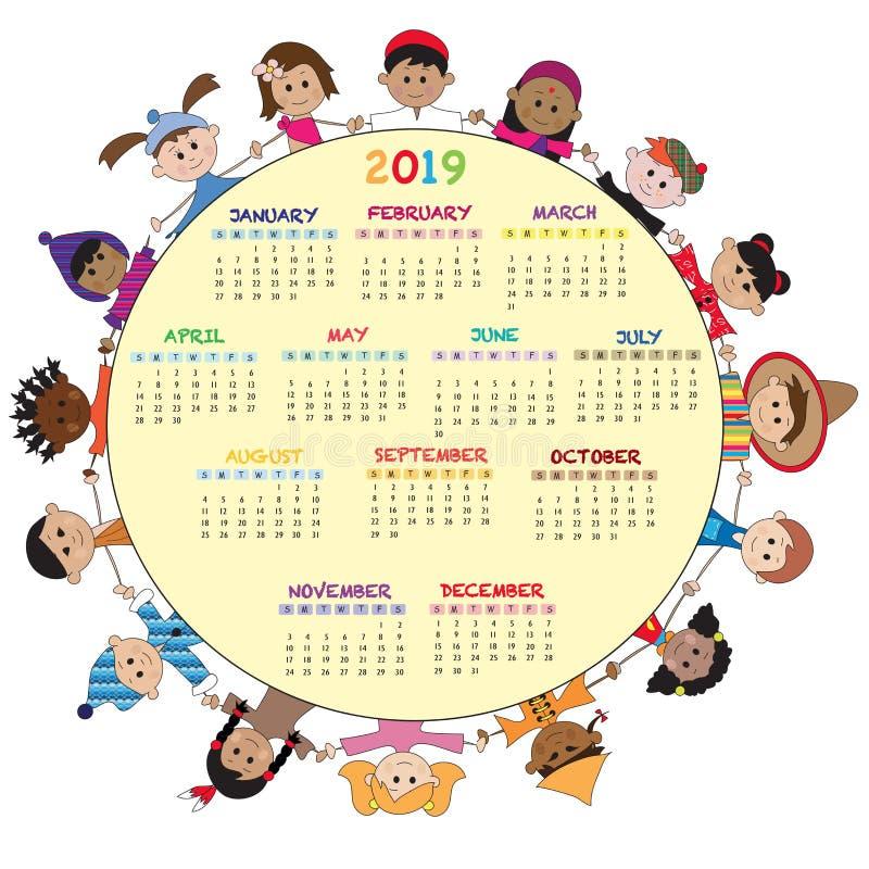 Календарь 2019 с детьми иллюстрация вектора