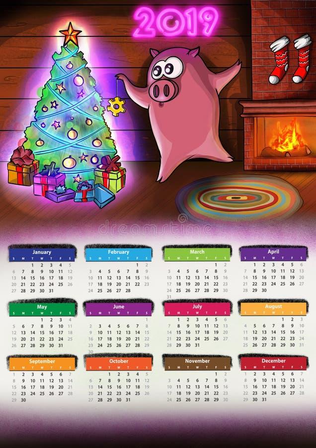 Календарь с Новым Годом 2019 Chenese свиньи иллюстрация вектора