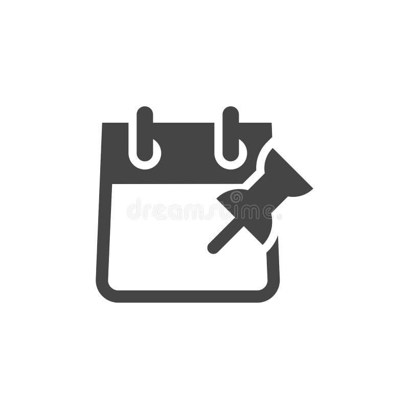 Календарь с ярлыком кнопки Pin нажима Планирование бизнеса, ведение учетной документации и даты, отмечать важные встречи иллюстрация штока