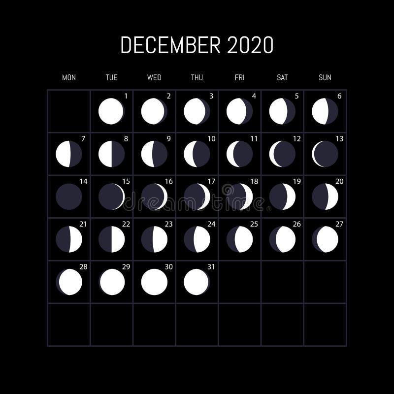 Календарь участков луны на 2020 год Декабрь Дизайн предпосылки ночи r бесплатная иллюстрация