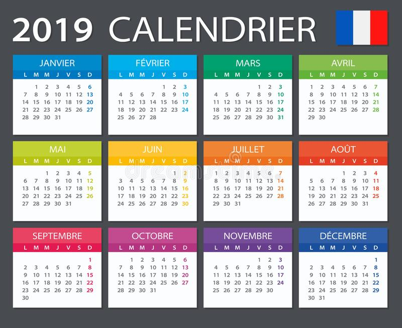 Календарь 2019 - французская версия иллюстрация вектора