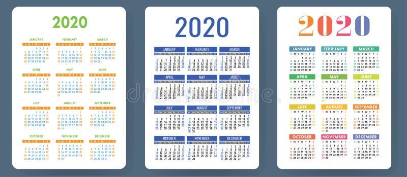 Календарь 2020 Цветастый комплект вектора Собрание календаря кармана Старты недели на воскресенье Шаблон основной решетки для печ иллюстрация штока