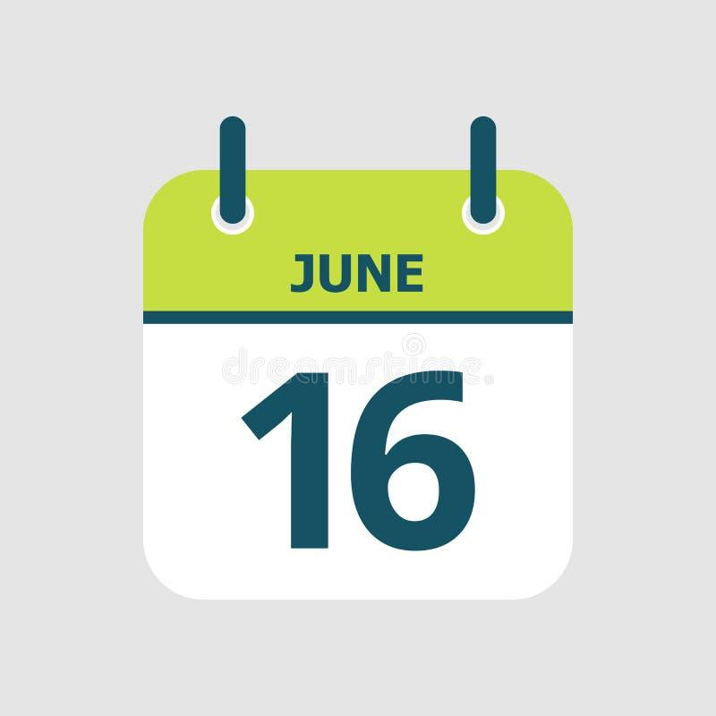 Календарь шестнадцатое -го июнь иллюстрация штока