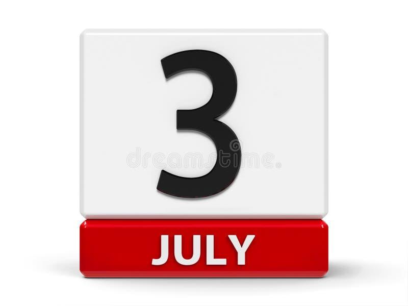 Календарь 3-ье июля кубов бесплатная иллюстрация