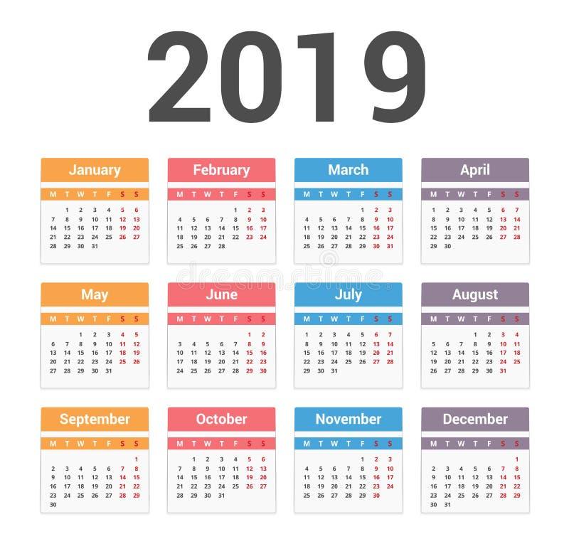 календарь 2019 иллюстрация штока