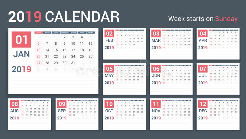 календарь 2019 бесплатная иллюстрация