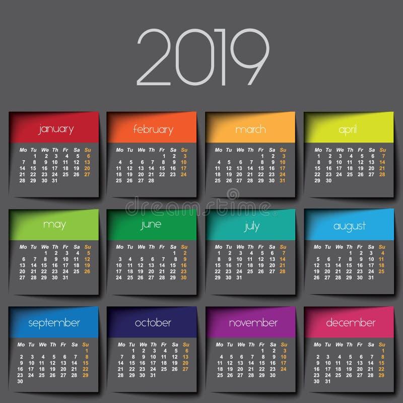 календарь 2019 иллюстрация вектора