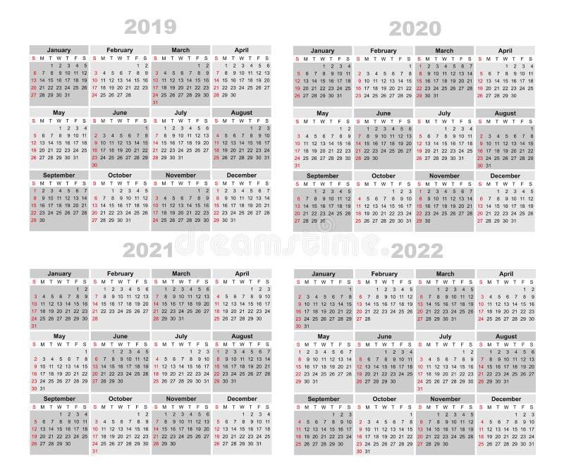 Календарь 2019,2020,2021,2022 иллюстрация штока