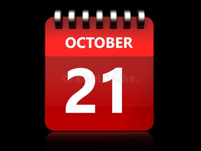 календарь 3d 21-ое октября бесплатная иллюстрация