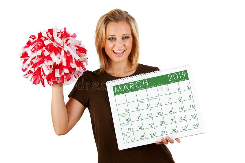 Календарь 2019: Exctied для спорт в марте весны стоковые изображения