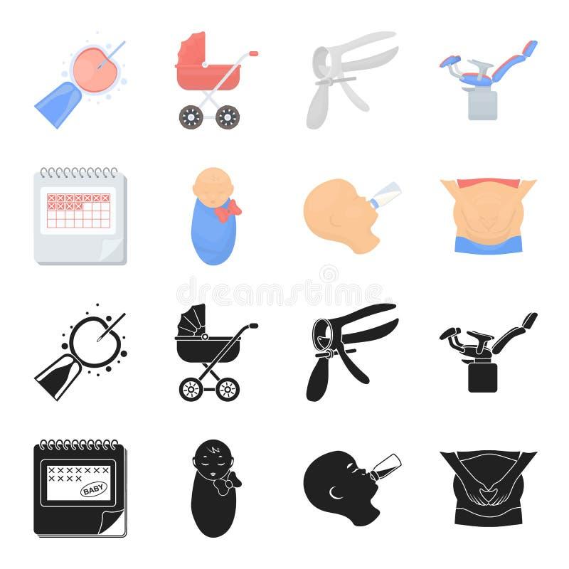 Календарь, newborn, массаж живота, искусственный подавать Значки собрания беременности установленные в черноте, векторе стиля шар иллюстрация вектора