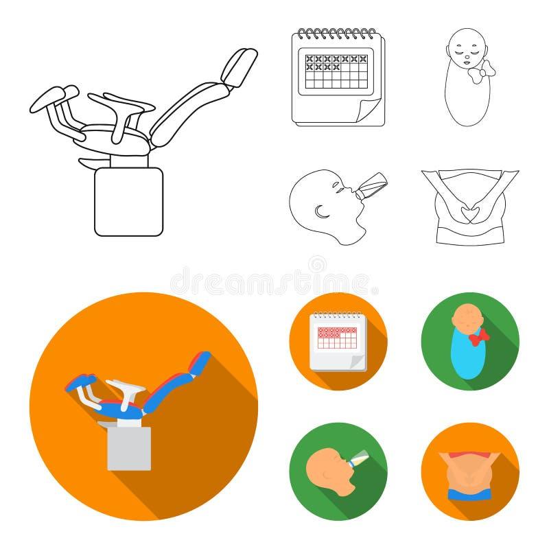 Календарь, newborn, массаж живота, искусственный подавать Значки собрания беременности установленные в плане, плоском векторе сти иллюстрация штока