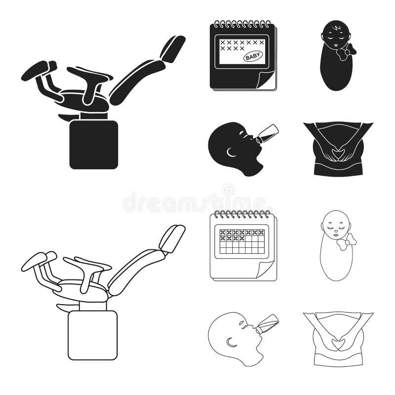 Календарь, newborn, массаж живота, искусственный подавать Значки собрания беременности установленные в черноте, векторе стиля пла бесплатная иллюстрация