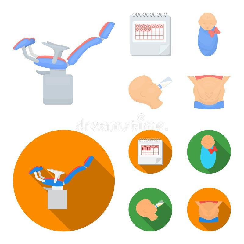 Календарь, newborn, массаж живота, искусственный подавать Значки собрания беременности установленные в шарже, плоском векторе сти иллюстрация вектора