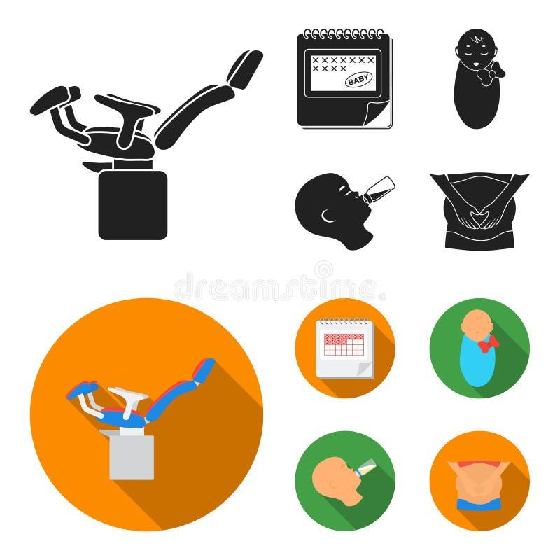 Календарь, newborn, массаж живота, искусственный подавать Значки собрания беременности установленные в черном, плоском символе ве бесплатная иллюстрация