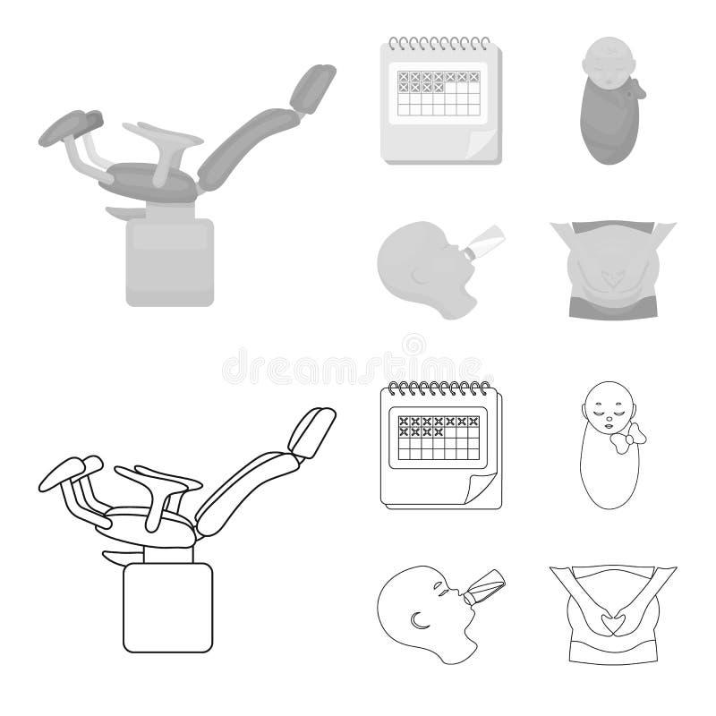 Календарь, newborn, массаж живота, искусственный подавать Значки собрания беременности установленные в плане, monochrome стиле бесплатная иллюстрация