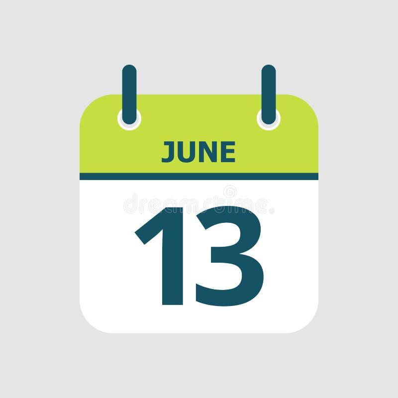 Календарь 13th -го июнь бесплатная иллюстрация