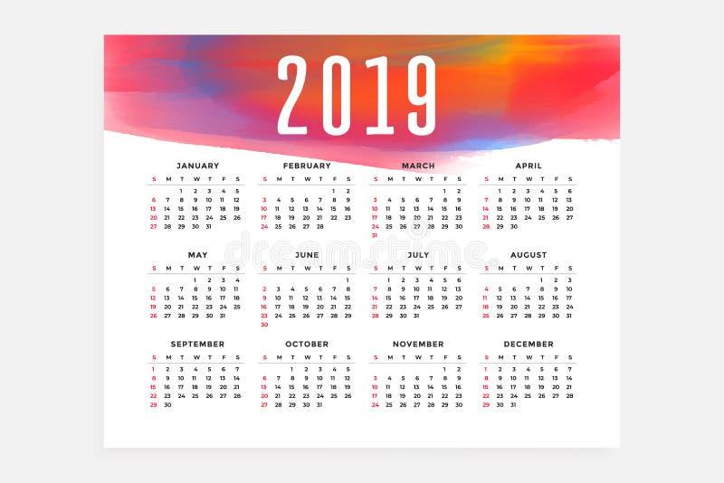 календаря плана дизайн 2019 концепции иллюстрация вектора
