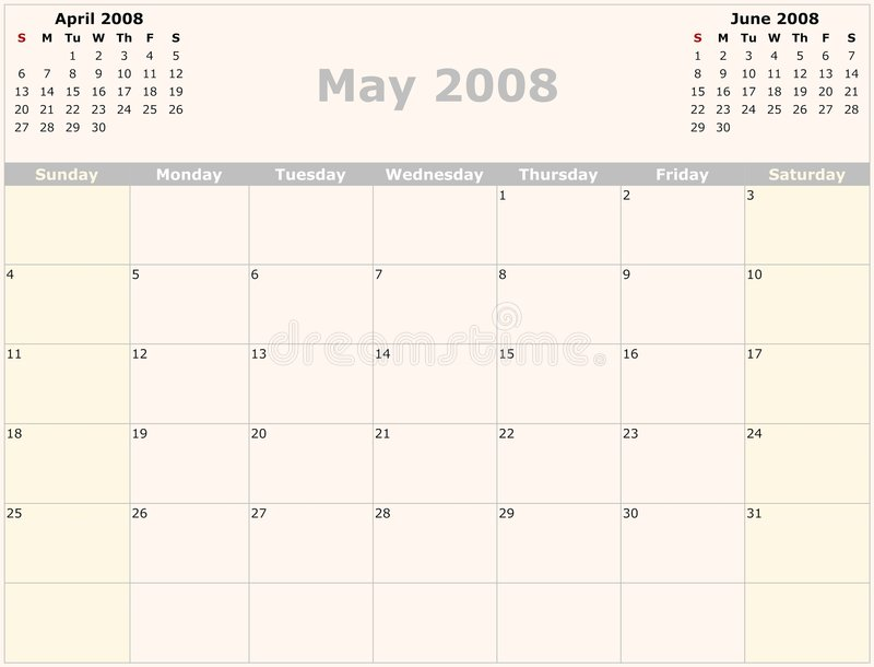 календар ежемесячный иллюстрация вектора