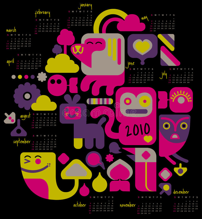 календар 2 2010 иллюстрация вектора