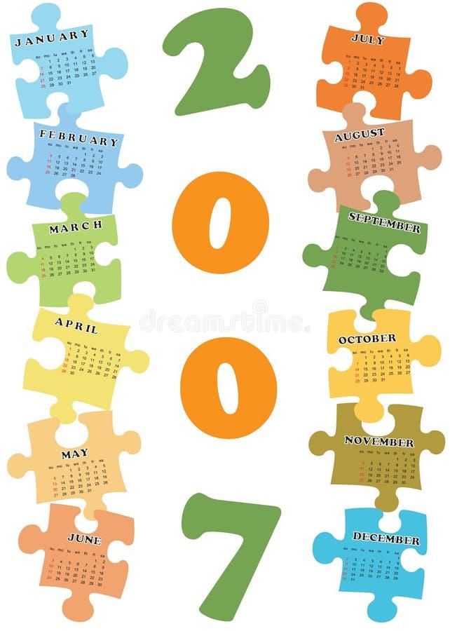 календар 2007 иллюстрация вектора