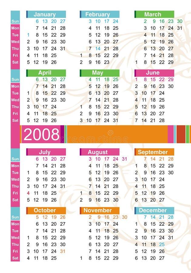 календар 2008 цветастый бесплатная иллюстрация