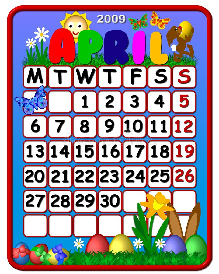 календар 2009 -го в апреле иллюстрация штока