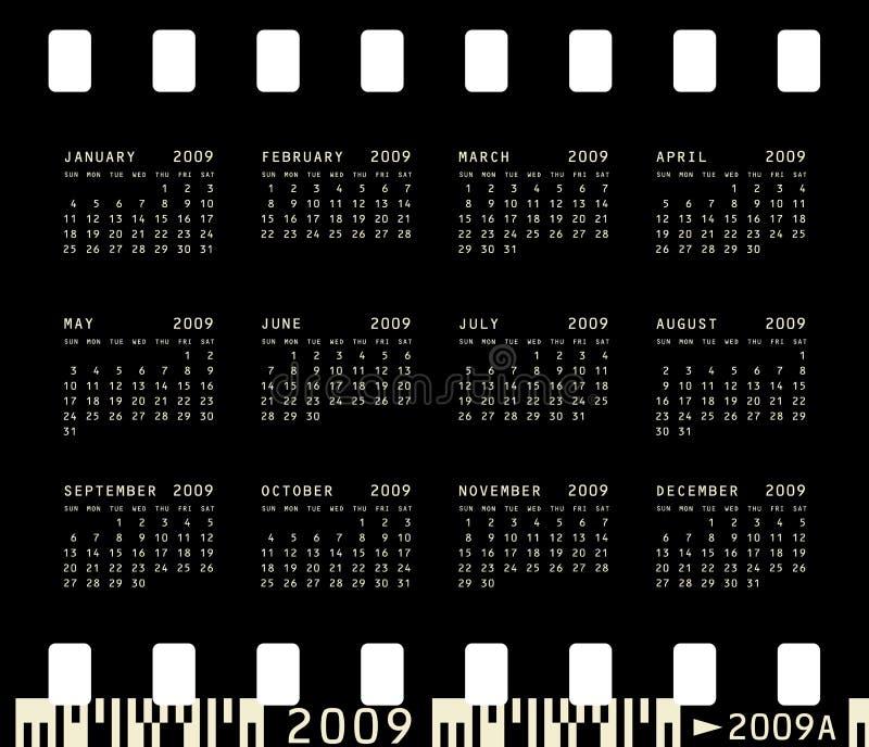 календар 2009 фотографический иллюстрация вектора