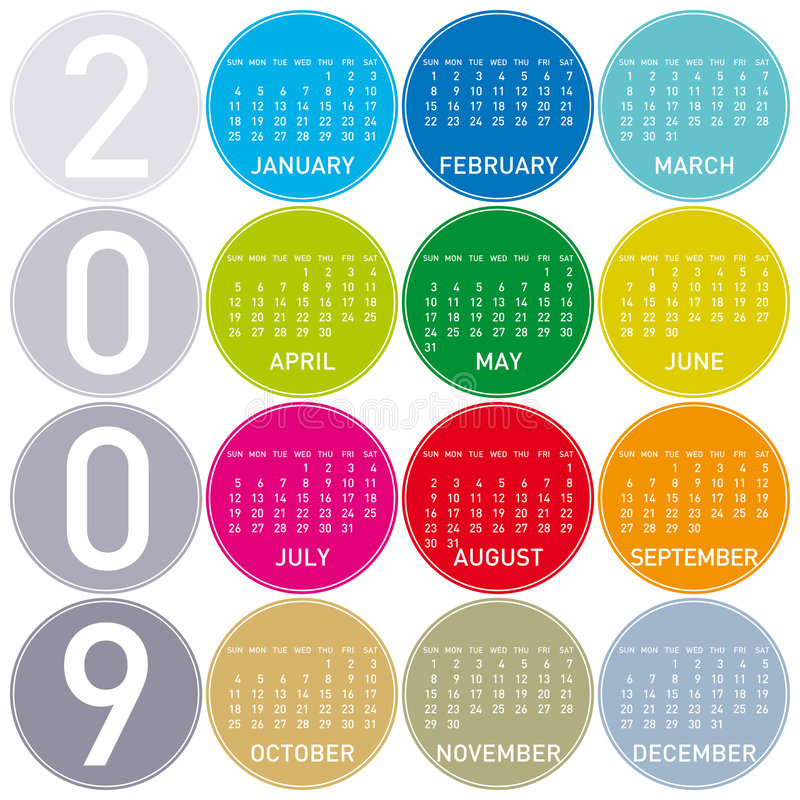 календар 2009 цветастый иллюстрация вектора