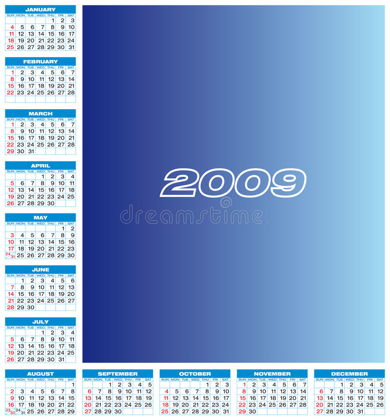 календар 2009 иллюстрация штока