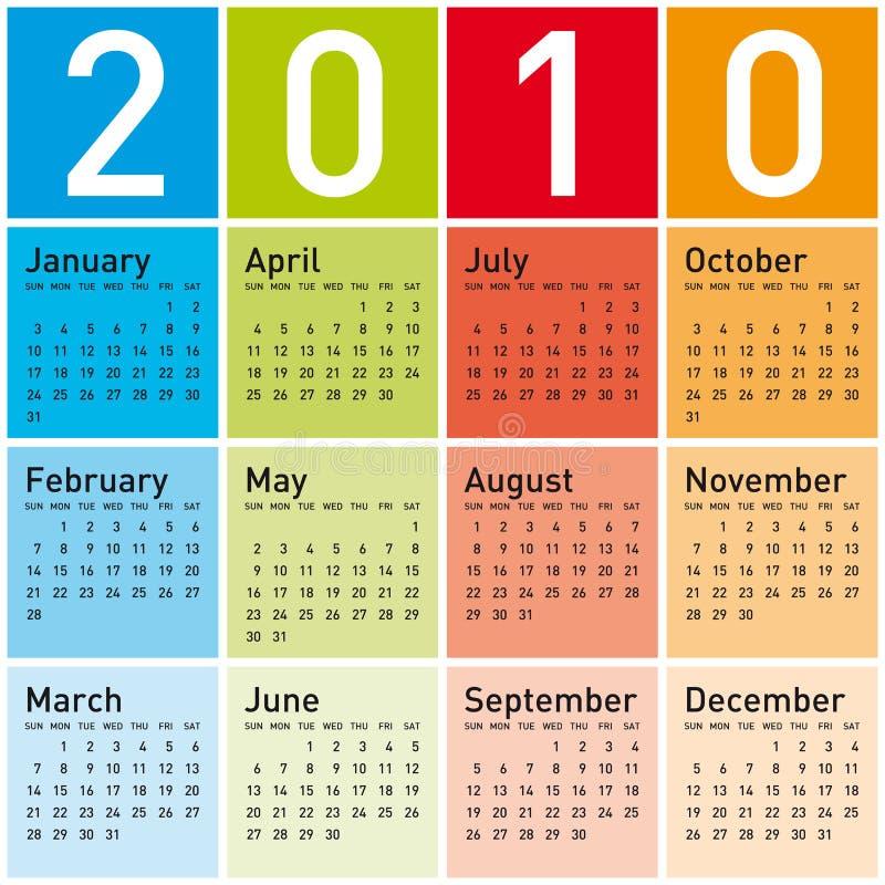 календар 2010 цветастый иллюстрация вектора