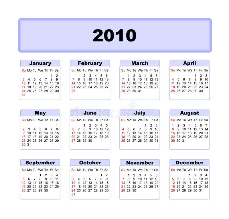 Календар 2010 бесплатная иллюстрация