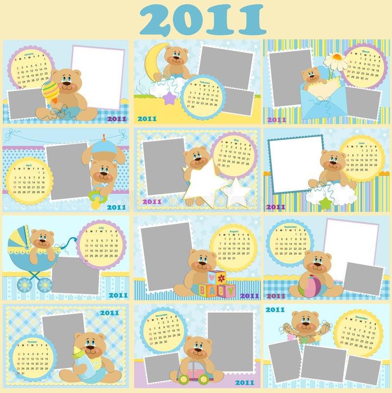 календар 2011 младенца ежемесячный s иллюстрация вектора