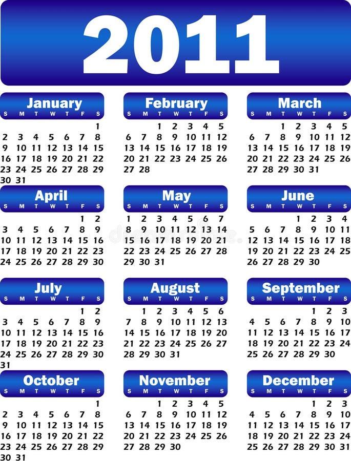 календар 2011 сини бесплатная иллюстрация