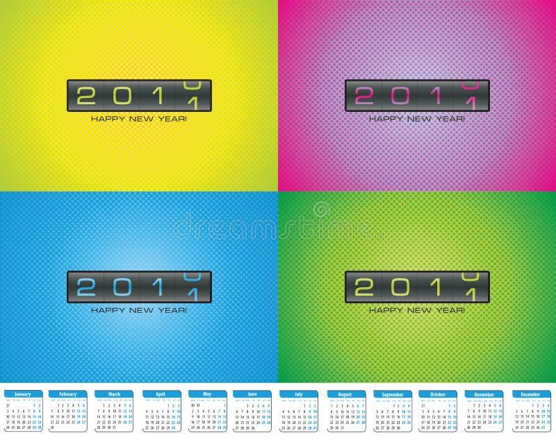 календар 2011 тантьемы чешет цветастое приветствие иллюстрация вектора