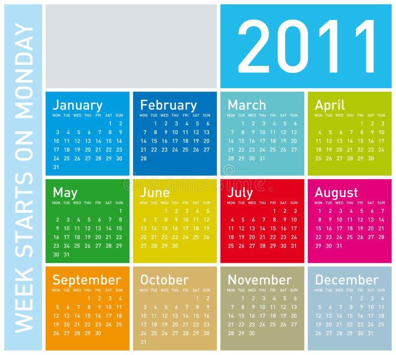 календар 2011 цветастый бесплатная иллюстрация