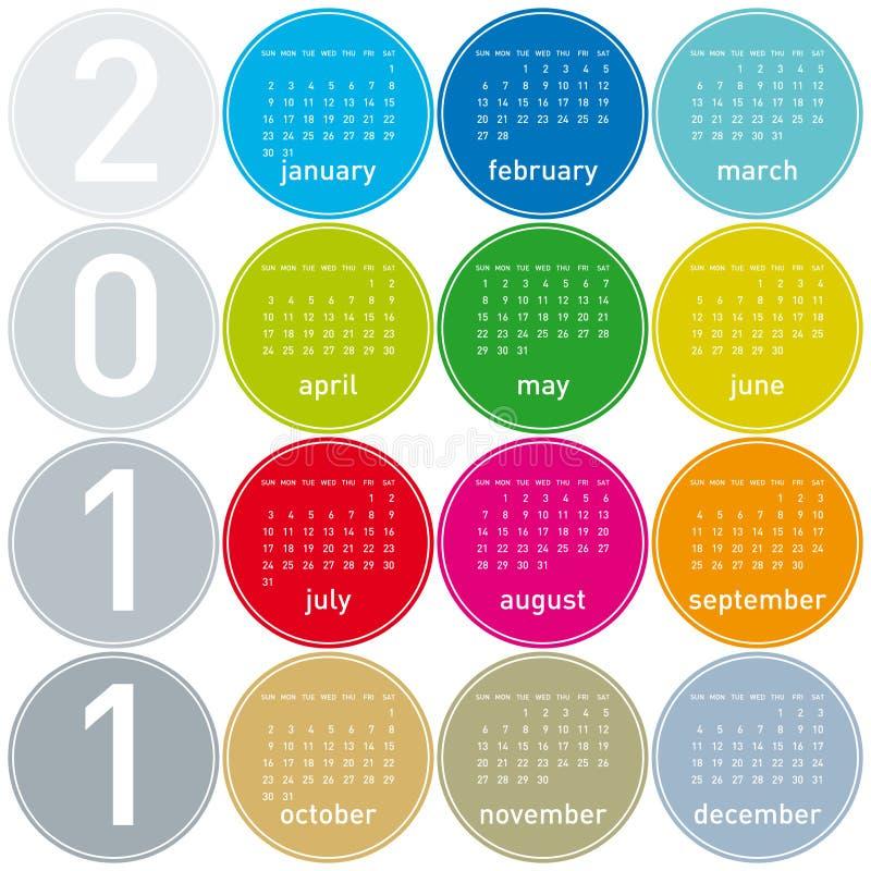 календар 2011 цветастый иллюстрация вектора