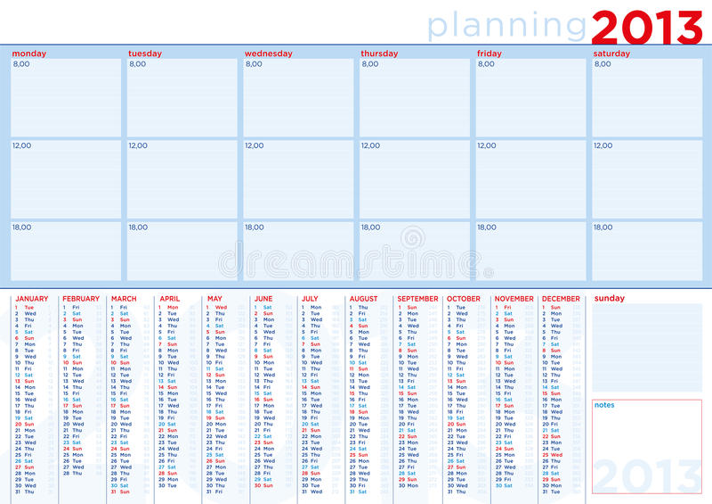 Календар 2013 запланирования в английском с экземпляр-космосом бесплатная иллюстрация