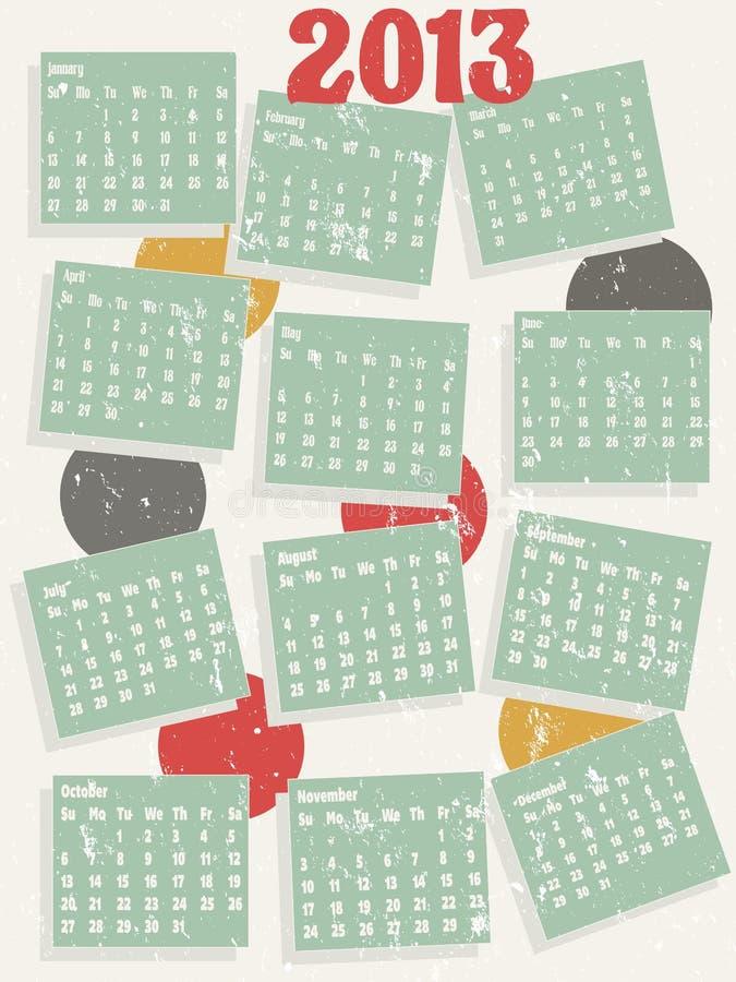 календар 2013 типа сбора винограда иллюстрация вектора