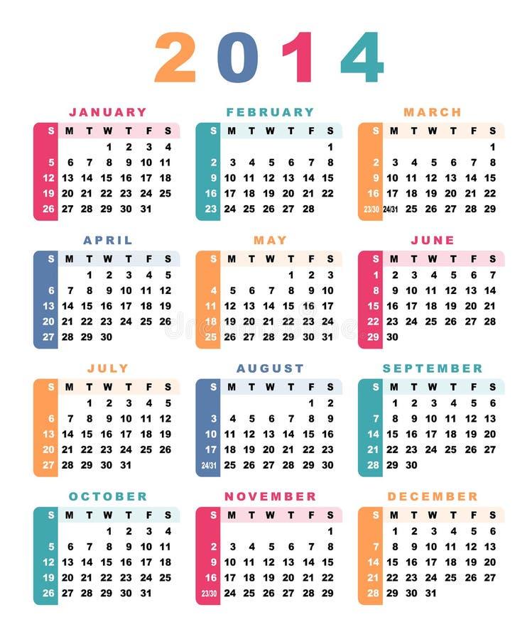 календар 2014 иллюстрация штока