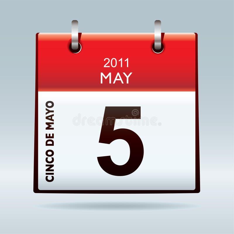 календар cinco de икона mayo иллюстрация штока