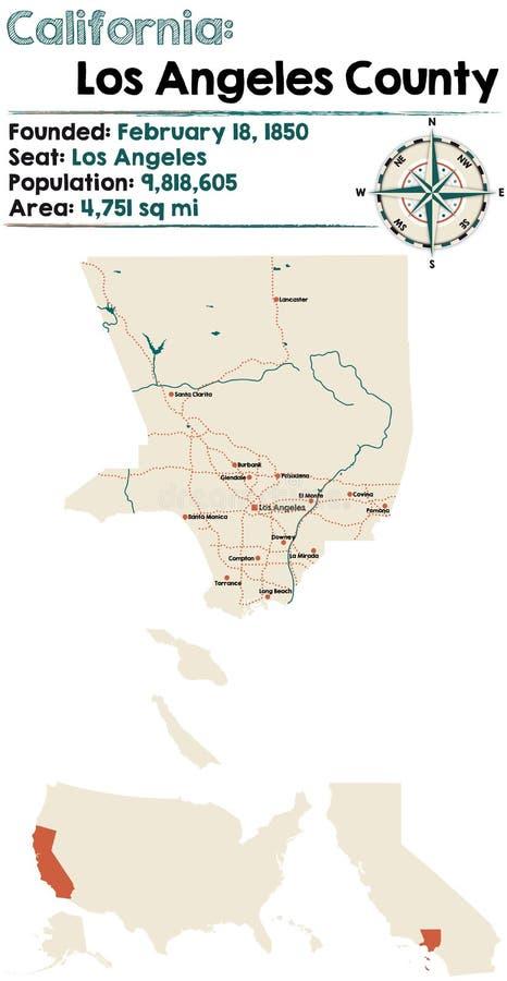 Калифорния: Карта Los Angeles County стоковое фото rf